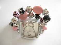 Chunky Interchangeable Pink and Black Watch Band @jnldesigns #bmecountdown   jnldesigns - Jewelry on ArtFire