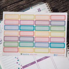 28 Colourful Quarter Boxes // Perfect for Erin Condren Vertical Life Planner by FasyShop on Etsy