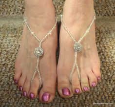 Bridal crystal barefoot sandals Barefoot sandals by GemmaJolee, $28.00