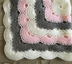 Diy Crafts - Crochet baby girl pink gray and white blanket Baby Girl Crochet Blanket, Pink Baby Blanket, Baby Girl Blankets, Diy Crafts Crochet, Crochet Home, Bead Crochet, Crochet Square Patterns, Crochet Blanket Patterns, Baby Boy Gifts