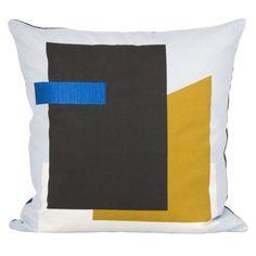 Ferm Living Blue Fragment Cushion: This striking mixed media inspired cushion by Fern Living features a geometric blue, black and mustard design. Light Blue Throw Pillows, Modern Throw Pillows, Decorative Pillows, Bed Pillows, Decor Pillows, Accent Pillows, Design Shop, Textiles, Fern Living
