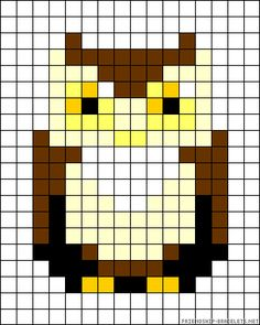 Owl bead pattern. Mayhaps a black background, and corn stitch? Or loom?
