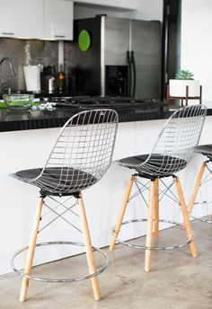 Charming Modernica Case Study® Wire Chair Dowel Counter Stool
