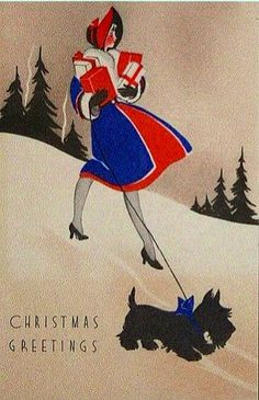 Art Deco Christmas Greetings.  You don't think she's gonna seriously hurt herself?  Wearing high heels on snow and/or ice