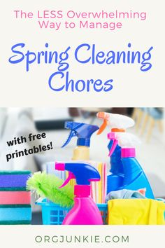 The Less Overwhelming Way to Manage Spring Cleaning Chores + free printables! - tons of information to help you live with less clutter and less stress Cleaning Calendar, Cleaning Schedules, House Cleaning Tips, Diy Cleaning Products, Spring Cleaning, Cleaning Hacks, Chores For Kids By Age, Cleaning With Peroxide, Mildew Remover