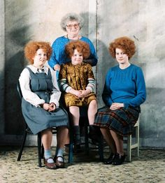 From Te Ara Encyclopedia of New Zealand:Janet Frame (back) poses with the actresses who portrayed her at different ages in Jane Campion's filmAn angel at my table(1990) – from left, Karen Fergusson, Alexia Keogh and Kerry Fox.