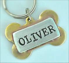 Custom Pet id tag / Oliver Bone Multi Metal by PoochyCouture, $16.00
