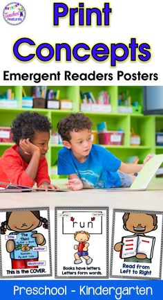 Print concepts | Teach emerging readers about the parts of a book- print concepts- with these 10 Posters. Concepts about print involve understanding the difference between letters, words, punctuation and directionality. It is an awareness of print in our everyday environment. Understanding concepts of print is the first step to indicate a readiness to read. #printconcepts #kindergarten #earlyreaders #emergentreader #tpt #teacherfeatures #backtoschoolactivities