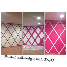 Pick color....TAPE!....PAINT!!!!! Tape Painting, Pink Walls, Bedroom Ideas, Stencils, Master Bedroom, Clever, Stripes, Eye, Learning