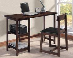 Vance Espresso Black Wood PU 2pc Pack Desk