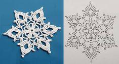 Crochet Snowflake Pattern, Crochet Snowflakes, Xmas Decorations, Crochet Stitches, Couture, Christmas, Farmhouse Rugs, Crochet Rag Rugs, Decoration Crafts