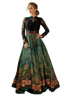 Black and green art silk semi stitched party wear gown - KRETA FAB TEX - 1315142 Pakistani Outfits, Indian Outfits, Gown Party Wear, Gowns Online, Indian Designer Wear, Beautiful Gowns, Indian Dresses, Traditional Dresses, Indian Fashion