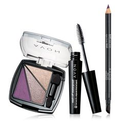 Eye Style 3-Piece Glamour Set. Shadow, lash & liner. Get the perfect look for day or night – you choose! A $24 value, the set includes: Wash Off Waterproof Mascara / Black - .21 oz. net wt. An $8 value. Kohl Eye Liner / True Black - .308 oz. net wt. A $7 value. Eye Dimensions Eyeshadow - .088 total oz. net wt. A $9 value (your choice of Khaki Chic, Bronze Star, Sultry Smoke, Neutral haze, Sweetheart Plum or Diamante Purple). $9.99. www.youravon.com/tanikaparson