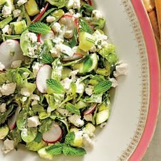 Spinach-and-Romaine Salad with Cucumbers, Radishes, and Creamy Mint Dressing (Janie's Spinach Salad) | MyRecipes.com