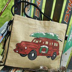Holiday Wagon Burlap Tote Burlap Tote, Totes, Holiday, Christmas, Reusable Tote Bags, Magic, Xmas, Vacations, Bags