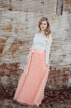 Long Coral Blush Tiered tulle skirt , Blush Tulle skirt, Coral ruffled skirt…