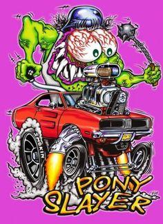 Vintage Reproduction Racing Poster Dodge Pony Slayer monster garage art - Fitness and Exercises, Outdoor Sport and Winter Sport Monster Garage, Monster Car, Caricatures, Ed Roth Art, Mopar, Rat Fink, Garage Art, Busse, Car Drawings