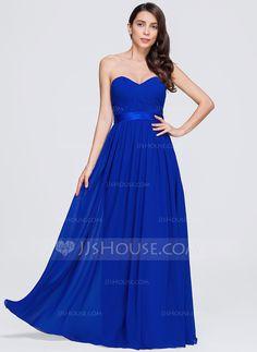 A-Line/Princess Sweetheart Floor-Length Ruffle Zipper Up Strapless Sleeveless No Royal Blue Spring Summer General Plus Chiffon Bridesmaid Dress