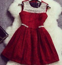 Beautiful...vestido vermelho com perolas.