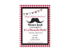 Mustache Bash Themed Customized Invitations by MyFashionLove, $5.00