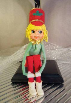 Vintage 1950s Knee-Hugger Elf Christmas Tree Ornament by GroovyDoozyVintage on Etsy