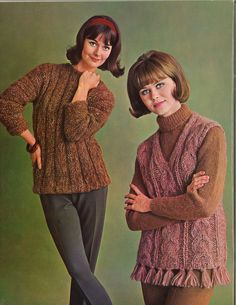 Woodsy & Hearth • 1960s Pullover Sweater Vest Patterns • 60s Vintage Ribbed Cabled Knitting Jumper Pattern • Retro Knit PDF by TheStarShop on Etsy