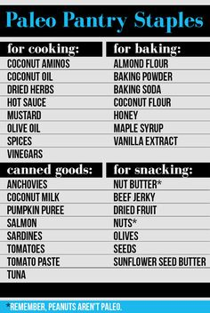 Stock your pantry with paleo staples.