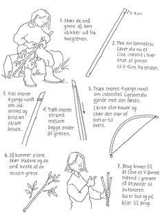 Sådan snitter du buen og pil. Tegning: Eva Wulff. Vikings, Diy And Crafts, Crafts For Kids, Whittling, Public School, Religion, Survival, Barn, Google