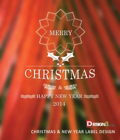 Christmas and New Year Greetings Label Design PSD