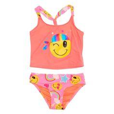 45f668ef0 Girls Emoji Graphic 2-Piece Tankini Swimsuit (4-6x) Justice Swimsuits,