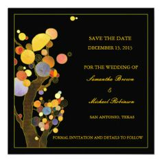 Whimsical Trees Save the Date Wedding Invitations.  $2.20
