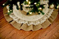 burlap christmas trees   Burlap and Lace DIY Christmas Tree Skirt   Winter