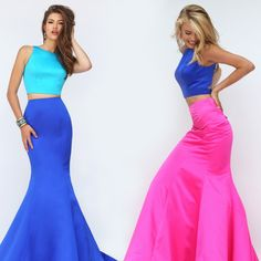 Sherri Hill Two-Piece Mermaid Dress with Back Cut Outs Prom Dresses For Teens, Cute Prom Dresses, Long Prom Gowns, Junior Dresses, Pretty Dresses, Homecoming Dresses, Short Dresses, Mermaid Skirt, Mermaid Dresses