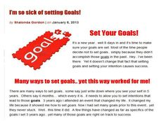 im-sick-of-goal-setting by Shalonda Gordon via Slideshare