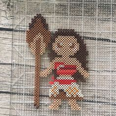 Well #moana is done. Not sure how I feel about the paddle. Might leave it off. Now to translate her to the mini beads and get on the next commission! #perlerart #pixelart #perlerbeads #disney #disneyprincess