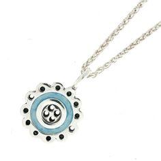 Vintage Style Blue Enamel Button Pendant Vintage Style, Vintage Fashion, Washer Necklace, Pendant Necklace, Temple Jewellery, Precious Metals, Enamel, Jewels, Button