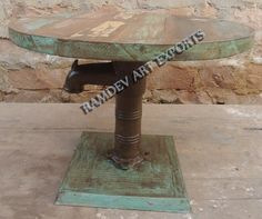 Indian Vintage Handpump Round Coffee Table
