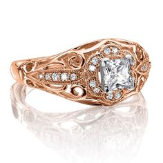 Diamond engagement ring mounting with milgrain detailing and side stones set in 14k rose gold. | Valina Bridals