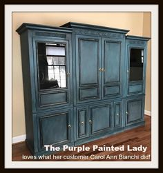 Aubusson Blue Chalk Paint®, Graphite Wash and Black Wax…Ohh La La! (The Purple Painted Lady) Blue Painted Furniture, Chalk Paint Furniture, Colorful Furniture, Distressed Furniture, Rustic Furniture, Refinished Furniture, Grey Furniture, Coaster Furniture, Recycled Furniture