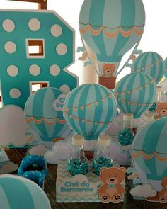 49 Ideas for baby shower boy balloons travel themes Baby Shower Table, Baby Shower Party Favors, Baby Party, Baby Shower Themes, Baby Boy Shower, Baby Shower Gifts, Diy Hot Air Balloons, Its A Boy Balloons, Baby Shower Balloons