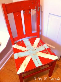 Slighly Distressed  Painted Union Jack Chair