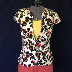 """Elevenses """"Pressed Dahlia Jacket"""" from Anthro """"It's time to hang up your winter toppers. The perfect partner for a light spring breeze, Elevenses' capped-sleeve blazer adds a tailored polish along to cheery florals."""" -Anthro site. Single button front, & Princess seams for flattering fit. Size 0, TTS. Bust measured flat is approx. 16 inches, back of neck to hem is 20 inches. Shell is 97% cotton, 3% spandex, lining is 100% cotton. In Perfect Condition. Anthropologie Jackets & Coats"""