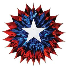 """4th of July PATRIOTIC Election Party HANGING Decoration Metallic FAN BURST 15"""""""