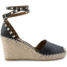 Valentino 'Rockstud' Espadrilles (17,415 THB) ❤ liked on Polyvore featuring shoes, sandals, studded shoes, valentino shoes, summer sandals, espadrille sandals and party sandals