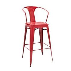 "Red steel barstool modeled after French midcentury designs. Product: BarstoolConstruction Material: SteelColor: Red  Features: 30"" Seat height Dimensions: 44.1"" H x 20.3"" W x 22.5"" D"