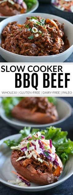 Slow Cooker BBQ Beef (Whole30) | whole30 slow cooker recipes | whole30 beef recipes | whole30 dinners | healthy dinner recipes | gluten-free slow cooker recipes | dairy-free slow cooker recipes | paleo slow cooker recipes || The Real Food Dietitians #paleodinners #glutenfreedinners #healthyslowcookermeals