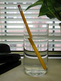 Optical illusion of a pencil in a glass of water.