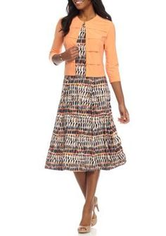 DN Designs by Danny  Nicole Coral Multi Sleeveless Printed 2-Piece Jacket Dress