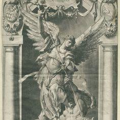 Standbeeld van de aartsengel Michaël op de Jesuitenkerk in München, Lucas Kilian, after Hubert Gerhards, after Peter de Witte, 1589 - 1637 - Rijksmuseum