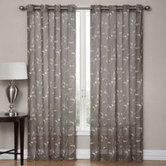Regent Court Gramercy Embroidered Faux Silk Window Curtain Grey